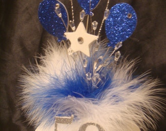 a glitter balloon crystal feather any age  birthday cake topper