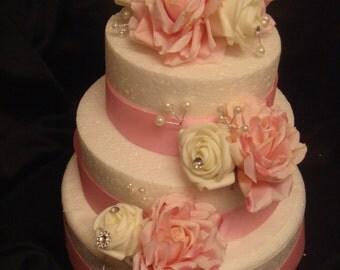 a baby pink ivory white rose heart r  pink rose  white rose pearl  ribbon wedding cake topper / set cake pick