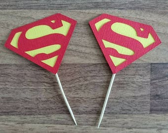 Superman cupcake toppers, 12 Superman toppers, Superhero party, Superhero cupcake toppers, Superman logo, Superhero party decoration