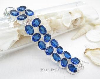 Double Layer Blue Topaz Sterling Silver Bracelet