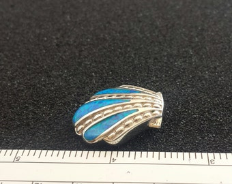 Sterling Silver Seashell Pendant with Synthetic Opal