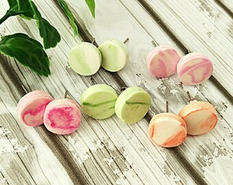 Round stud earrings, Marble stud earrings with surgical steel posts, Disk studs, Made from air dry clay so eco friendly, Choose a color