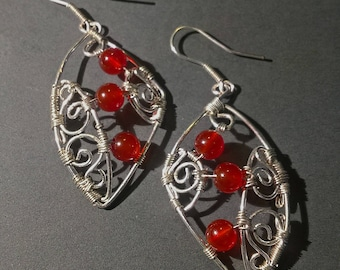 "Earrings with Red Carneol - ""Passion"""