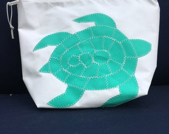 Sunblock Bag -Teal Turtle - Made from Recycled Sail