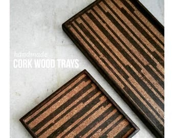 Serving tray - handmade with cork wood