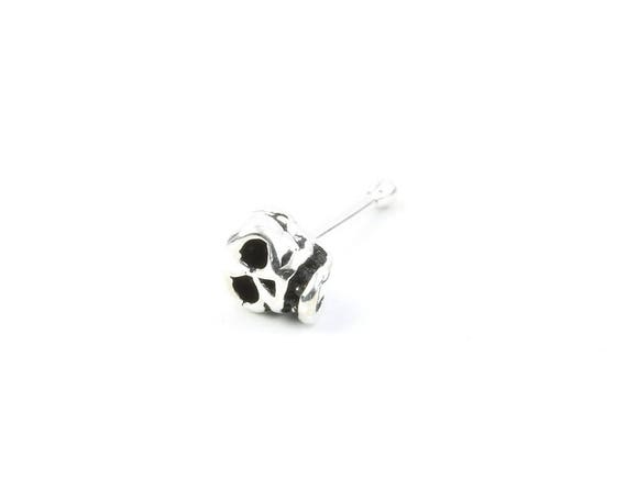 Sterling Silver Skull Nose Pin, Skeleton, Nose Jewelry, Nose stud, Boho, Bohemian, Gypsy, Festival Jewelry
