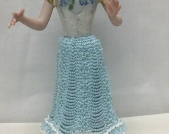"Porcelain Half Doll ""Abigail"" Wearing a Knitted Beaded Skirt"