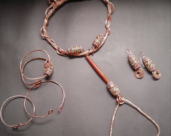 3 PC Custom Hammered Copper Necklace Earring and Bracelet Set
