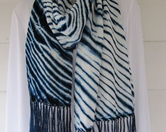 """Hand-dyed indigo silk/rayon velvet arashi shibori scarf with fringe 13"""" x 70"""""""