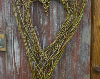 Large Natural Woven Willow Hearts, Valentine, Welsh St Dwynwen, love, hedgerow, wicker, wood, ready now for dispatch