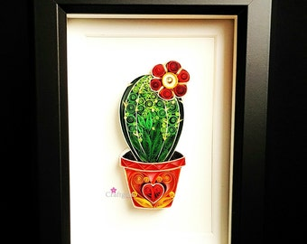 Cactus Plant Artwork - Quilled Paper Art - Cactus Framed Decor - Cactus Gift - Wall decor - Reading Room Decor - Home decor - Cactus Gift. .