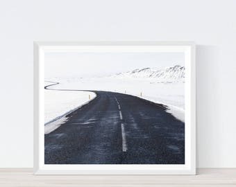 Road Photography, Open Road Print, Road Photo, Winter Landscape, Travel Photography, Winter Art, Iceland, Iceland Poster, Iceland Art,#L3