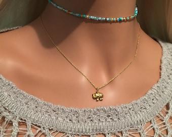 Elephant Necklace - Gold Elephant Necklace - Dainty Elephant Necklace - Lucky Elephant Charm Necklace - Gold Vermeil Necklace