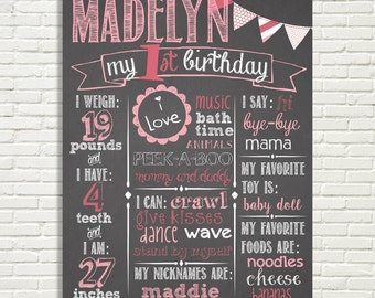 First Birthday Chalkboard Poster Sign 16x20 Banner Pendant Flags Pink White or You Choose Color  Digital File ONLY