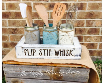 Kitchen Mason Jars, Kitchen Utensil Holder, Farmhouse Kitchen, Farmhouse, Flip Stir Whisk, Kitchen Caddy, Rustic Kitchen, Utensil Holder