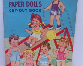 Original Playmates Paper Dolls Cut Out Book , 1940's Antique Paperdoll Book , Samuel Lowe Company Punch Out Book , Cut-Out Book , Kid's Book