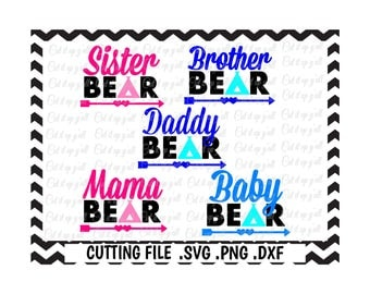 Bear Family Svg-DXF, Mama Bear, Daddy Bear, Brother Bear, Sister Bear, Baby Bear, Cut files for SilhouetteCameo, Ciricut, Instant Download
