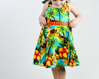 Girls Tropical Hawaiian Dress, Girls Summer Dress, Girls Hawaiian Dress, Toddler Hawaiian Dress, Hawaiian Dress