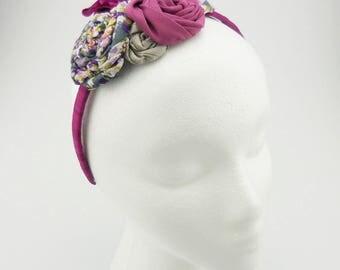Flower Headband (pink, ivory, gray, pearl beads)