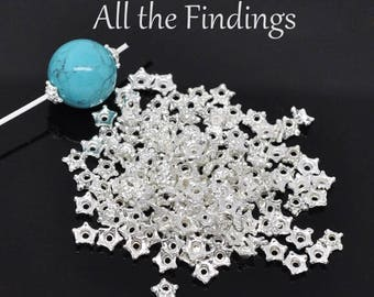 500 Piece Dainty Silver Star Bead Caps Findings Spacer Beads For Women DIY Jewelry 5mm from All The Findings