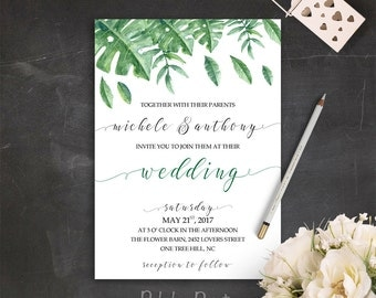 Green Wedding Invitation Suite Garden Wedding Invitation Set Printable Wedding Invite Greenery Wedding Invitation Outdoor Wedding Invitation