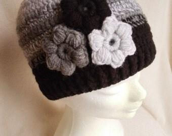 Crochet flower hat; Women, girl winter hat