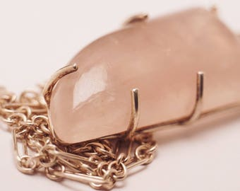 Rose Quartz Pendant Necklace. Natural Pink Quartz. Includes 22 inch solid 925 Sterling Silver Chain. In Stock.