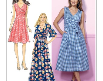 Sewing Pattern for Misses' Pleated Wrap Dresses with Sash, Butterick Pattern 6446,  Spring Dresses, Surplice Wrap Dress