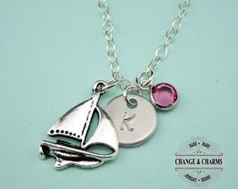 Custom Sailboat Charm Necklace, Sailboat Necklace, Swarovski Birthstone, Charm Necklace, Sterling Silver, Beach, Monogram Necklace, CTR003