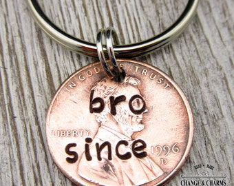 Custom Bro Since Penny Keychain, Lucky Penny Keychain, Brother Keychain, Gift for Brother, Brother Gift, Keychain, Custom Keychain, Lucky