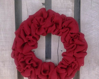 Red Burlap Wreath,  Rustic Holiday/Christmas/Winter Wreath, Valentine Wreath, Front door or Mantle Burlap Wreath, Multiple sizes