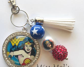 Wonder Woman Keychain/zipper pull charm with accent beads and tassel