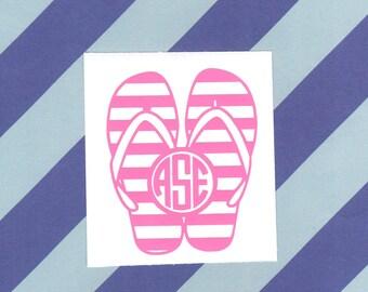 Striped Flip Flop Monogram Decal