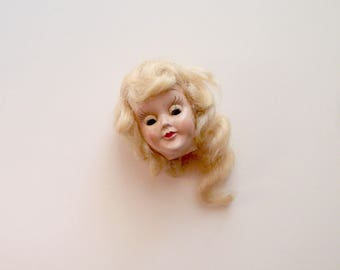 Vintage Doll Head Doll Part Assemblage Blonde Wavy Hair Glass Eyes Doll Supplies