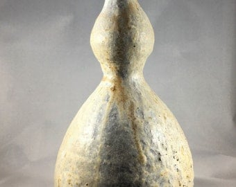 Woodfired hanaire flower vase for chabana tea ceremony, gourd shaped with natural ash glaze. Japanese style wood fired, anagama.