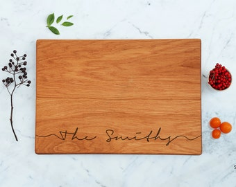 Housewarming Gift Cutting Board Personalized Wedding Shower Gift Idea For Bride Engraved Script Last Name Bridal Gift For Friends Men Gifts