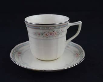 Vintage Noritake Ivory Teacup and Saucer-Rothschild Pattern