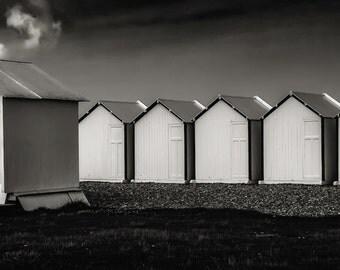 Snack bar, North of France, white beach huts, seaside, seascape, côte d'Opale, shingle beach, black and white fine art photography