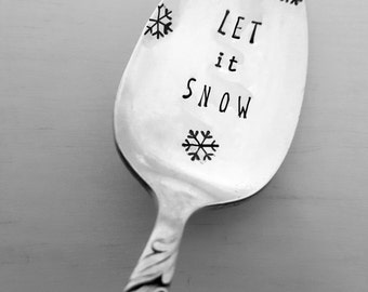 Let it Snow Spoon w/ Snowflakes, Hand Stamped Spoon, Vintage, Silverplate, Winter, Christmas, Gift, Present, Stocking Stuffer, Coffee Spoon