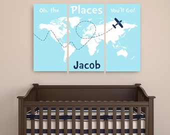 Personalized dr Seuss canvas art Oh the places you'll go canvas map with name set of 3, Travel World Map Nursery Canvas Print with name