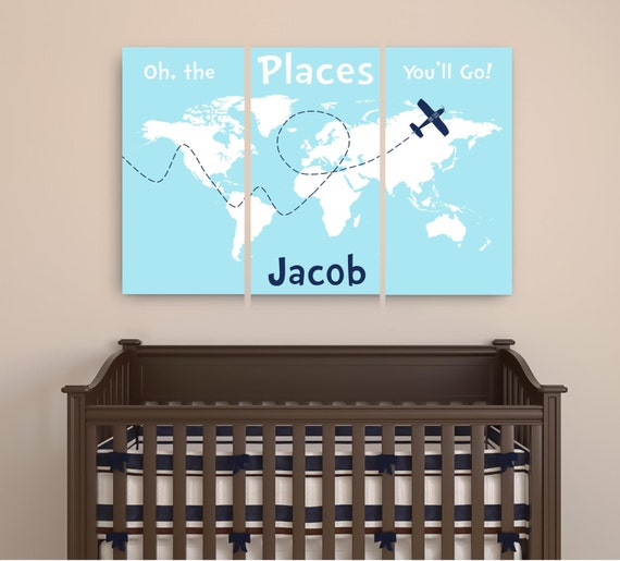 personalized dr seuss canvas art oh the places you 39 ll go. Black Bedroom Furniture Sets. Home Design Ideas