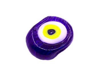5 pcs Navy Blue Evil Eye Glass Bead   Navy Blue Evil Eye Round Beads,Lampwork Evil Eye Beads,Artisan Handmade Evil Eye Charms,Big Evil Eye