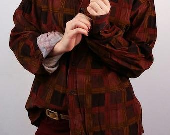 Vintage 80's Unisex Corduroy Checkered Button-up Shirt/ size M men