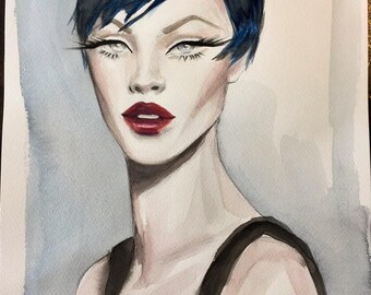 Original Watercolor Fashion Illustration Painting Inspired by 1990's Fashion