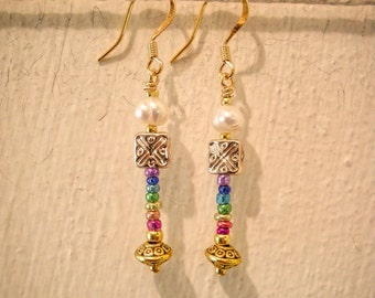 Gold and Simulated Fresh Water Pearl Chakra Earrings