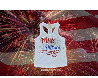 Baby Girl 4th of July Outfit, Miss America Shirt, 4th of July Outfit, Toddler Girl Patriotic Shirt, Mommy and Me 4th of July outfit