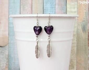 Feather Earrings, Boho Earrings, Gypsy Earrings, Statement Earrings, Heart Earrings, Hippie Earrings, Beaded Earrings, Boho Jewelry, Feather
