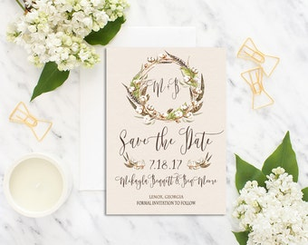 Printable Save the Date / Save The Date Invitation / Rustic Save the Date Invitation /Cotton Boll Feather Wedding Invitation