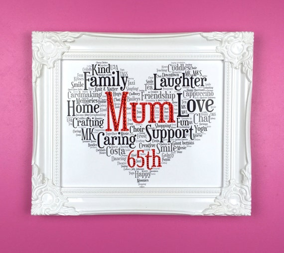 65th birthday personalised word art gift for mum gift for for Gardening 60th birthday gifts