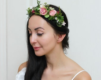Greenery rose floral crown Woodland Outdoor wedding Flower headband Bridal headpiece Flower girl crown Wedding hair wreath Green flower halo